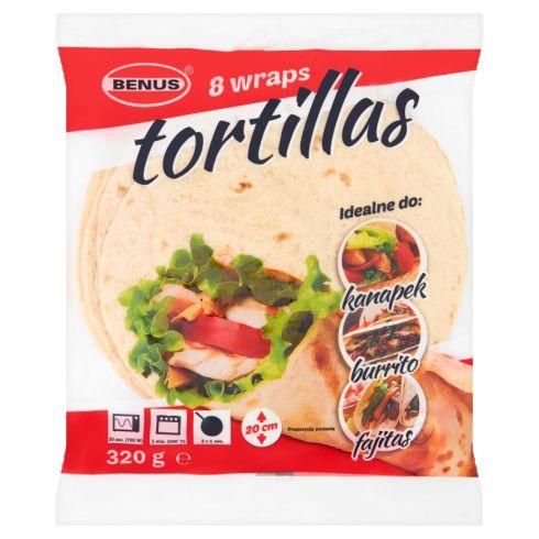 Benus Tortilla placki do napełniania 20 cm 320 g (8 sztuk)