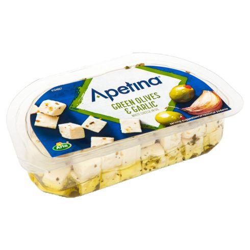 Arla Apetina Ser biały typu śródziemnomorskiego w zalewie olejowej z oliwkami i czosnkiem 100 g