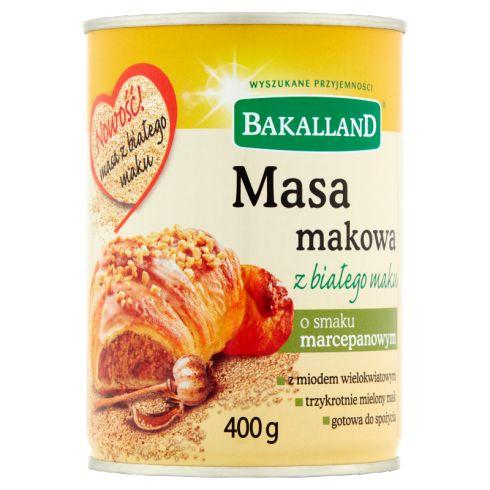 Bakalland Masa makowa z białego maku o smaku marcepanowym 400 g