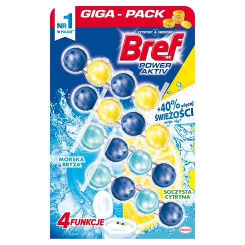 Bref Zawieszka myjąco-zapachowa do muszli  cytryna+morska bryza 4 x 50 g